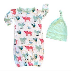 NWOT Kickee Pants baby gown set